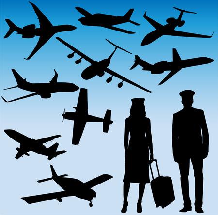 azafata: aviones, azafata y siluetas piloto - vector Vectores