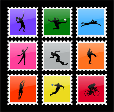 colorful sport stamps - vector Vector