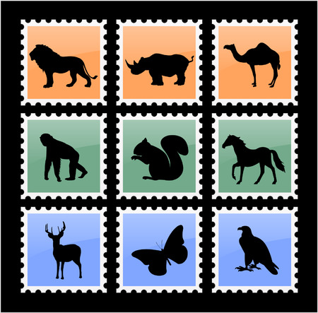 colorful animal stamps - vector Vector