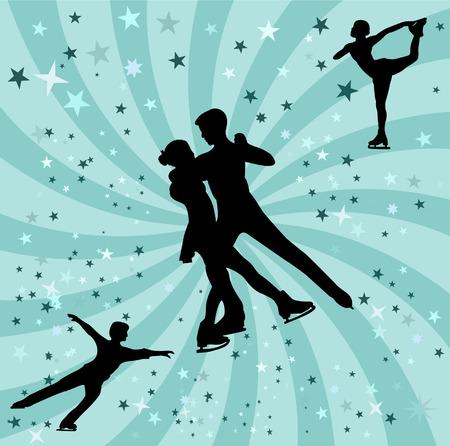 figure skating silhouette - vectors