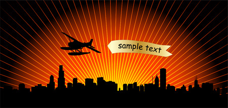 city skyline with airplane - vector  Illustration