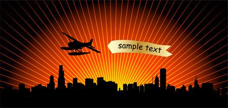 city skyline with airplane - vector Stock Vector - 5500728