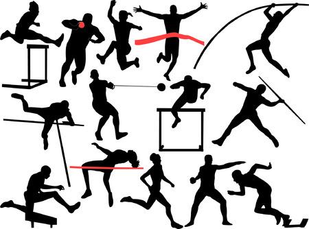 atléticos hombres y mujeres de recogida - vector
