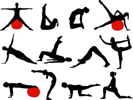 siluetas mujeres: pilates mujeres siluetas - vector