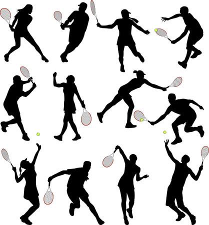 Tennis-Spieler-Silhouetten - Vektor  Standard-Bild - 5500736