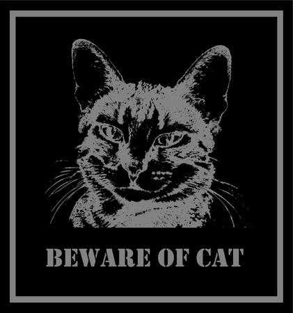 beware: beware of cat - vector Illustration