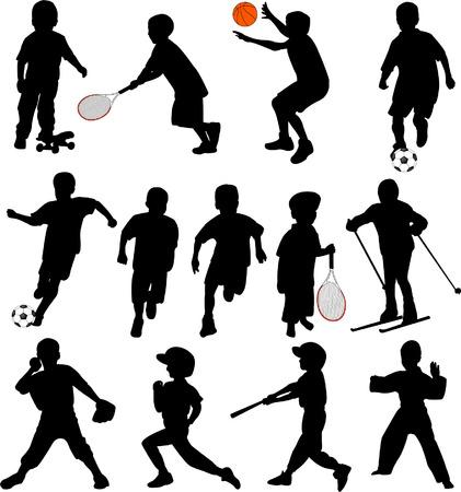 buiten sporten: sport kinderen silhouetten - vector