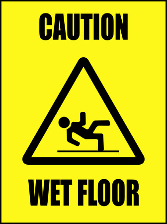 slippery warning symbol: caution - wet floor - vector
