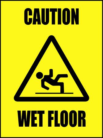 slippery floor: caution - wet floor - vector