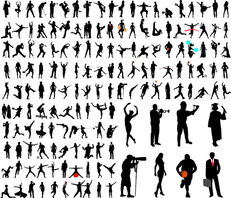 150 high quality people silhouettes collection - vector Illustration