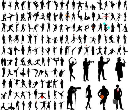 acrobacia: 150 personas de alta calidad siluetas collection - vector