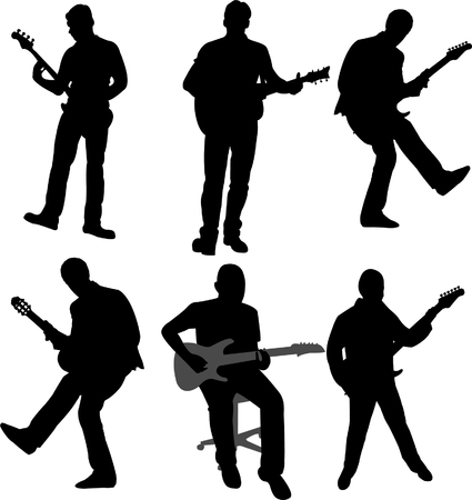 guitarists silhouette collection - vector Vector