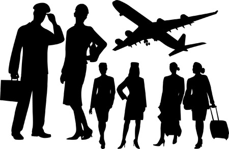 azafata de vuelo: azafata y siluetas piloto de recogida - vector Vectores