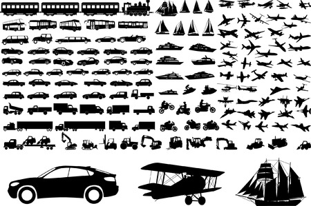 over 100 transportation silhouettes - vector Vector