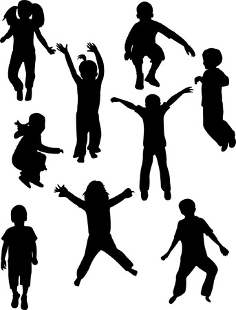 leaping: kids silhouettes - vector