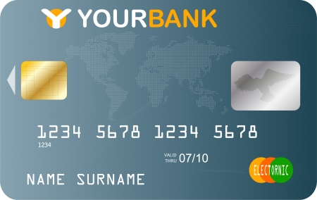 debit: credit card template Illustration