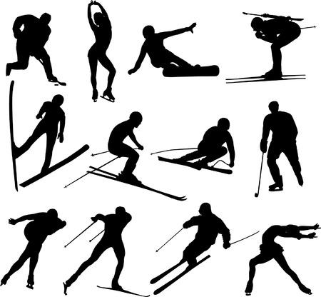 ski�r: Winter sport collectie  Stock Illustratie