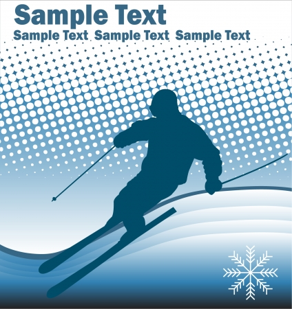 skier on the abstract background - vector Vector