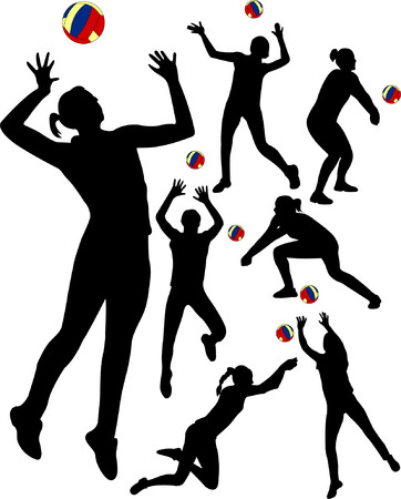 salti: insieme di giocatori pallavolo - vettoriale  Vettoriali