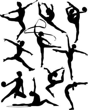 acrobatics: rhythmic gymnastic silhouette collection - vector