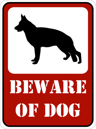 beware: beware of dog sign - vector Illustration