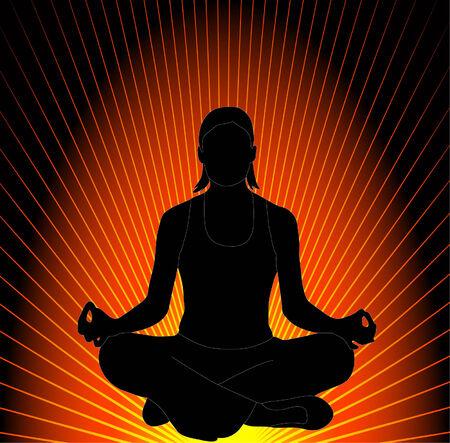 sitting meditation: yoga 2 - vector