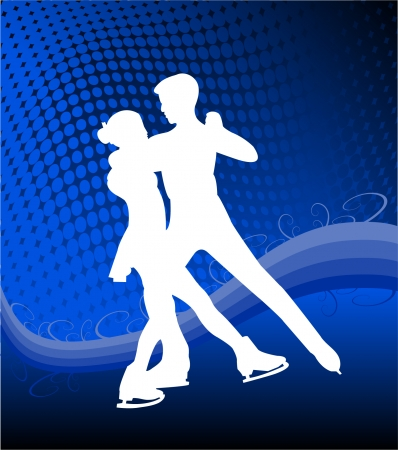 ice skating couple - vector Vector