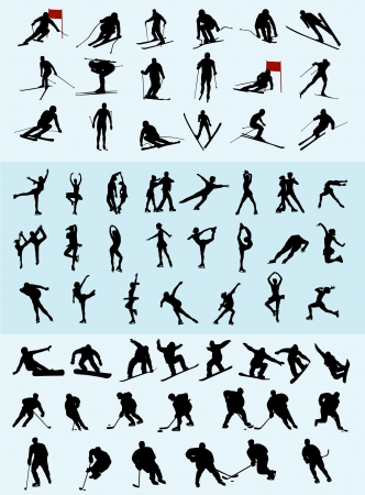winter sports silhouettes - vector Vector