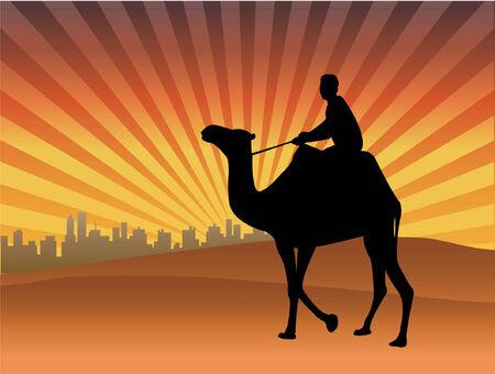man riding camel in the desert - vector Stock Vector - 6206863