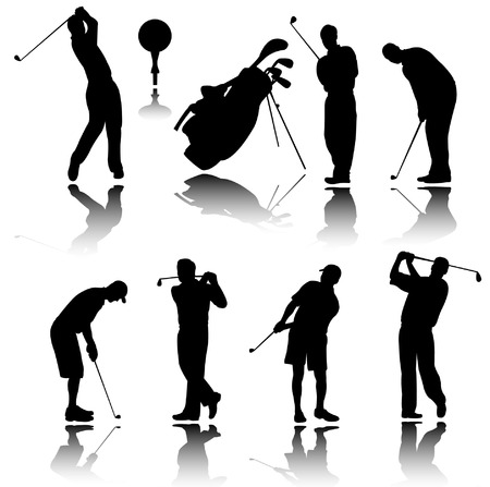 golfers silhouettes - vector