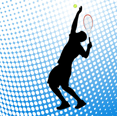 male tennis players: tennis player silhouette on the halftone background Illustration