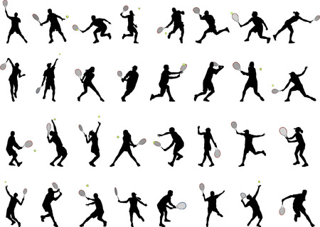 tennis serve: 32 different tennis players silhouettes  Illustration