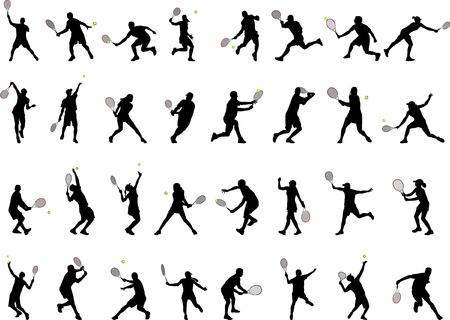 32 verschiedenen Tennis-Spieler-Silhouetten  Standard-Bild - 6660402