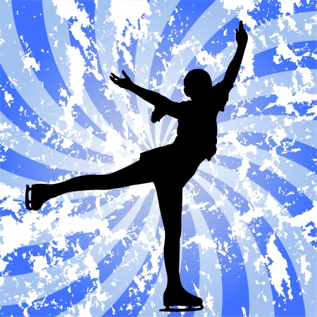 figure skater: ice skater on the abstract grunge background