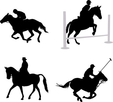 equestrian sport: horsemen silhouettes