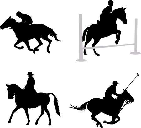 galop: silhouettes de cavaliers  Illustration