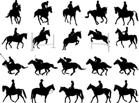 galop: 20 silhouettes de cavaliers de haute qualit�  Illustration