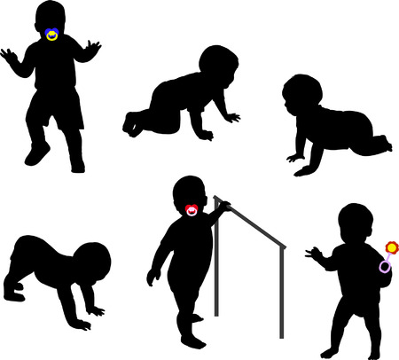 nenes jugando: siluetas de los beb�s