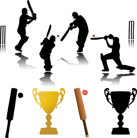 cricket game: cricket players  Illustration