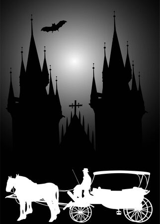tyn: carriage in front of Tyn cathedral in Prague by night Illustration