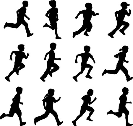 child of school age: children running silhouettes