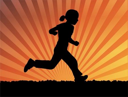silhouette of little girl running  Stock Vector - 7022275