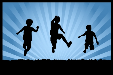 child of school age: silhouettes of children jumping on abstract background Illustration