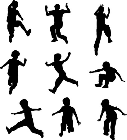 child of school age: silhouettes of children jumping - vector
