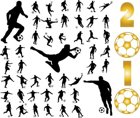 joueurs de foot: silhouettes de joueurs de football  Illustration