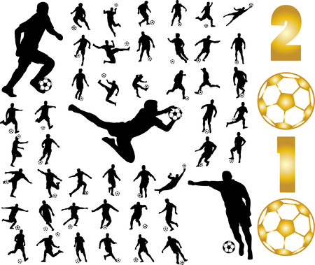 world ball: soccer players silhouettes
