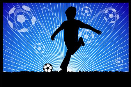kid kicks soccer ball Stock Vector - 7155304