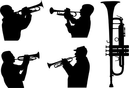 trumpet players silhouettes Stock Illustratie