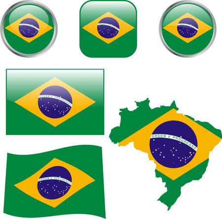 brazilian flag: Brazil buttons - vector