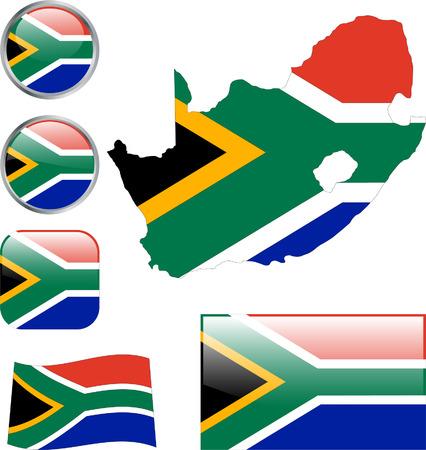 �south: Pulsanti del Sudafrica.  Vettoriali